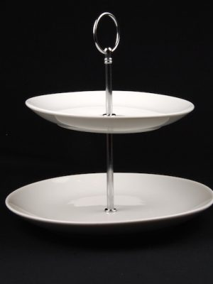 2 TIER WHITE CHINA CAKE STAND (ROUND)