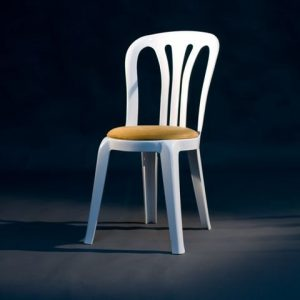 White Miami Chair with Gold Round Seat Pad